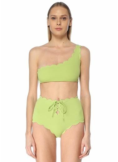 Marysia Marysia 101600477 Tek Omuzlu Kıvrımlı Klips Kapatmalı Bikini Üstü Yeşil
